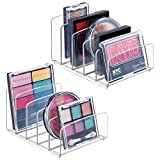 mDesign Plastic Divided Makeup Organizer for Bathroom Countertops, Vanities, Cabinets - Cosmetic Storage Solution for, Eyeshadow Palettes, Contour Kits, Blush, Face Powder - 5 Sections, 2 Pack - Clear