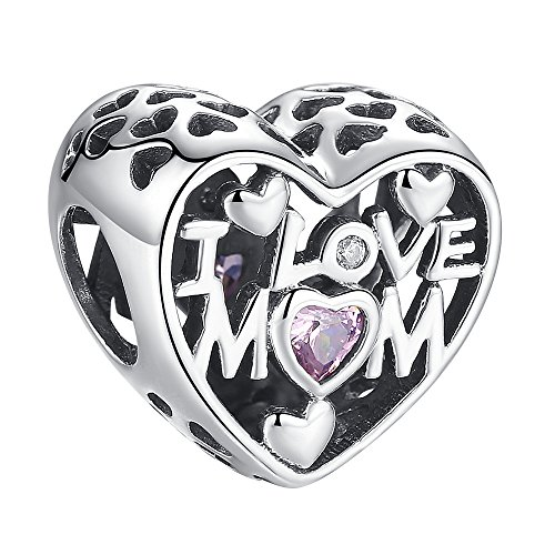 ANGELFLY I Love Mom Heart Charm with Pink Crystal 925 Sterling Silver Heart Charms fit Pandora Charms for Pandora Bracelets, Birthday Mothers Day Thanksgiving Gifts for Mother Mom