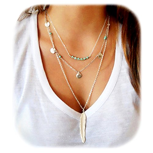 Suyi Exquisite Sequins Multilayer Chain Turquoise Beads Necklace with Feather Pendent Silver ()
