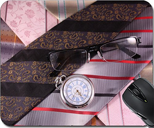 MSD Natural Rubber Mouse Pad Mouse Pads/Mat design 24611448 Multicolored ties vintage watches and glasses (Tie Watch Silk)