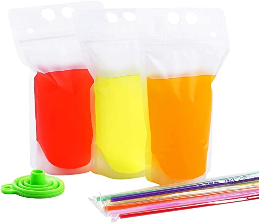 30 PCS Stand-Up Plastic Drink Pouches Bags with 60 Drink Straws, Heavy Duty Hand-Held Translucent Reclosable Ice Drink Pouches Bag, Non-Toxic, for Smoothie, Cold & Hot Drinks