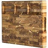 大端纹柚木切割板,带内置隔间,防滑:17x13x1.5,带果汁槽(包括礼品盒),由Sonder Los Angeles提供