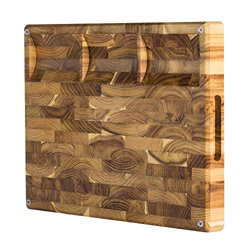 Large End Grain Teak Wood Cutting Board with Built-in Compartments, Non-slip: 17x13x1.5 with Juice Groove (Gift Box Included) by Sonder Los Angeles by Sonder Los Angeles (Image #2)