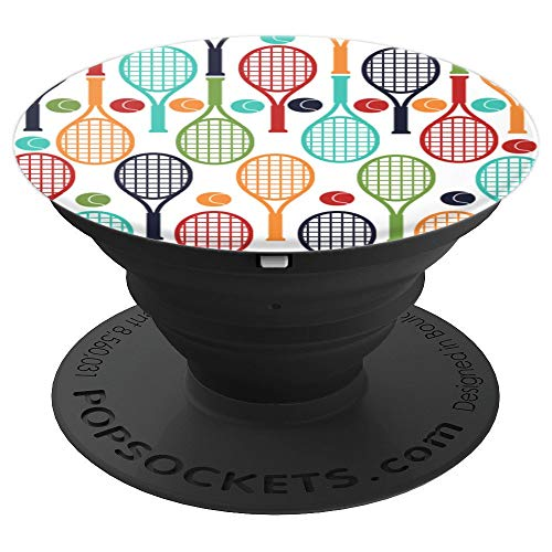 - Retro Color Racket Pattern Tennis - Pattern Series - PopSockets Grip and Stand for Phones and Tablets