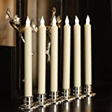 10 Inch Flameless Battery Powered Ivory Wax Taper Candles with Remote and Timer & Candlestick, Warm White Flickering Light, Set of 6