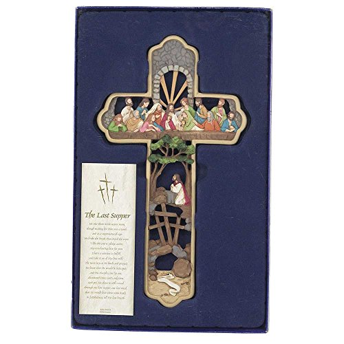 Dicksons Lord's Last Supper Multicolored Carved 12 Inch Resin Gifting Boxed Wall Cross