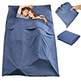 CAMTOA Sleeping Bag Liner, 2 Persons Travel Camping Sheet, Antimicrobial Soft Cotton Compact Sleep Sheet with Lightweight Carry Bag for Travel, Hotel,Youth Hostel, Picnic, Business Trip etc. Navy