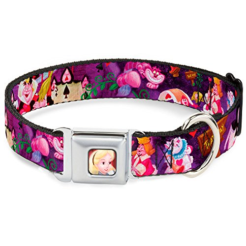Buckle Down Seatbelt Buckle Dog Collar - Alice & the Queen of Hearts Scenes - 1.5'' Wide - Fits 13-18'' Neck - Small by Buckle Down