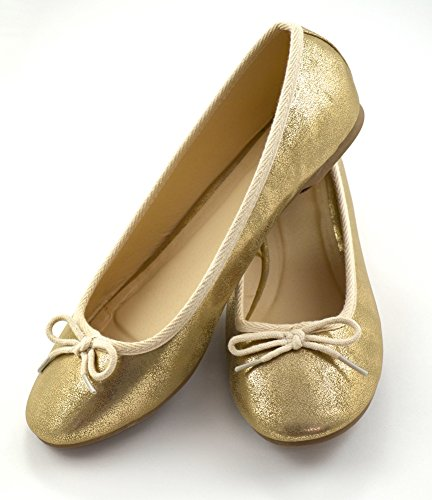 Womens Shinny Metallic Gold Classic Ronde Neus Ballet Slip Op Plat Met Strik Goud