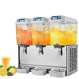 OrangeA Juice Dispenser Commercial Beverage Dispenser with Spigot Drink Dispenser 14.25 Gallon Cold Fruit Juice Beverage Ice Tea Drink Dispenser 18L X 3 Tanks (14.25 Gallon 3 Tanks)