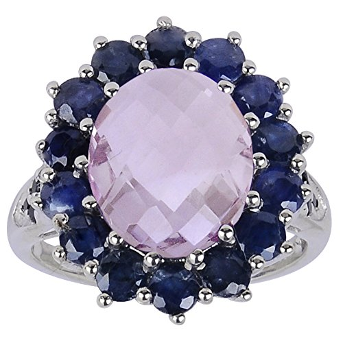 Oval Shaped Checkerboard Pink Amethyst, Sapphire and Spinel 925 Sterling Silver Ring for Women, February Birthstone, Perfect for Engagement, Anniversary, Free Gift Box (6.62 Cttw, 12x10 MM ()