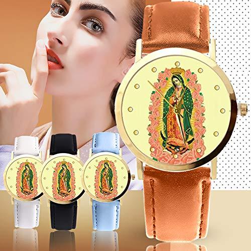 lightclub Christian Virgin Mary Flower Round Dial Faux Leather Strap Women Wristwatch - Black by lightclub (Image #1)