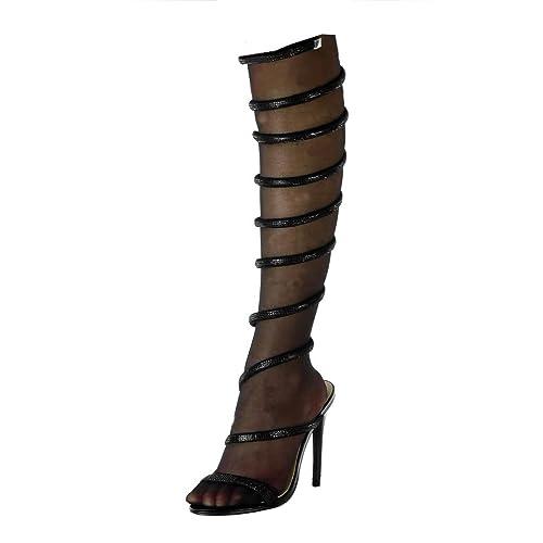 bambino aspetto dettagliato dove posso comprare Angkorly - Scarpe Moda Stivali - Scarponi Stiletto Aperto ...