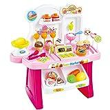 Elisona-34 PCS Kids Plastic Educational Pretend Play Toys Mini Supermarket Cashier Desk POS Toy Set Christmas Gift Toy Pink
