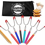 Premium Marshmallow Roasting Sticks, (Set of 6) Forks for Campfire, with ...