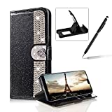 Diamond Wallet Leather Case for Huawei P20,Flip Cover for Huawei P20,Herzzer Premium Luxury Love Heart Buckle Magnetic Closure Black Glitter Stand Case with Inner Soft Rubber Protective Case