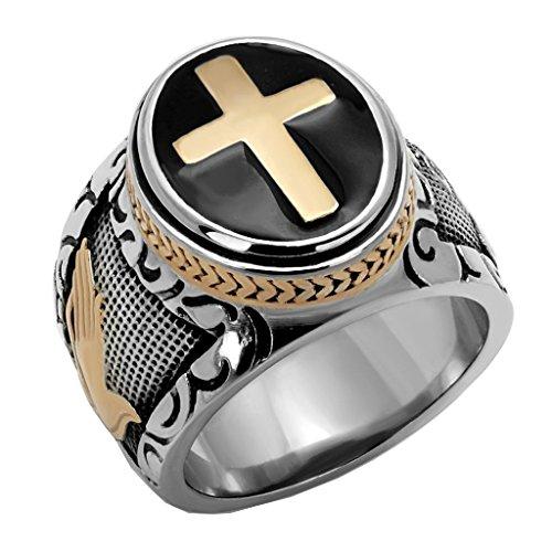 FlameReflection Stainless Steel Men Black & Silver Christian Holy Cross Prayer Ring Spj size 8 ()