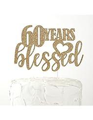 NANASUKO 60th Birthday Cake Topper - 60 years blessed - Premium quality Made in USA, Gold Glitter