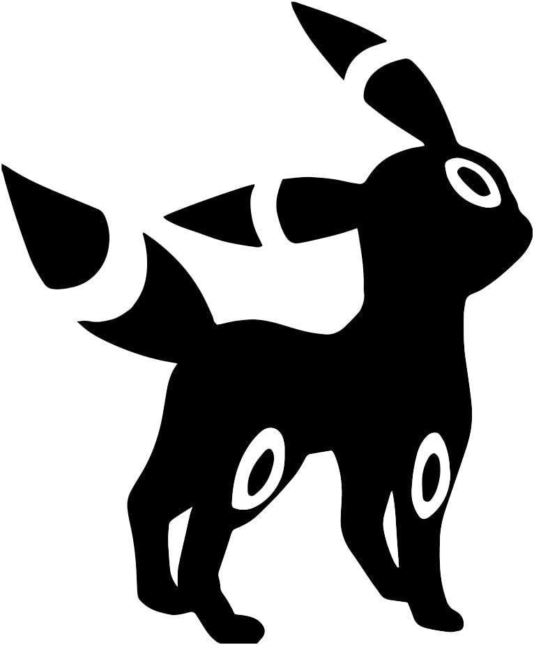 """Umbreon Character Silhouette Vinyl Sticker Car Decal (6"""" White)"""