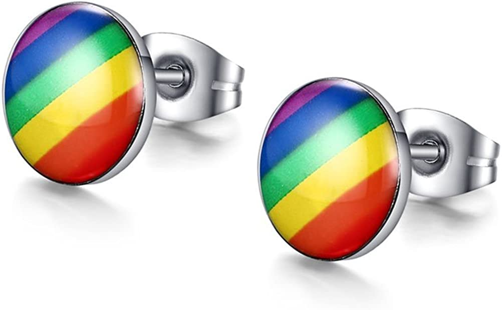 VNOX Jewelry 1-3 Pairs Stainless Steel Fashion Round Rainbow Ear Stud Earring for Gay & Lesbian Pride