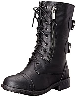 Top Moda Pack-72 Womens Back Buckle Lace Up Combat Boots Black 5.5
