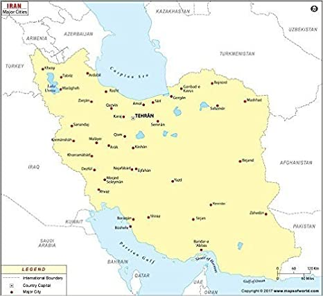 Amazon Com Iran Cities Map Laminated 36 W X 32 H Office