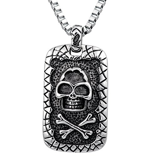 Pendant Dog Tag Combo (55MM STAINLESS STEEL SKELETON, DEAD, SKULL BONES HEAD DOG TAG OXIDIZED SILVER TONE PENDANT Necklace Chain Combo 16in, 18in, 20in, 24in (16 inches))
