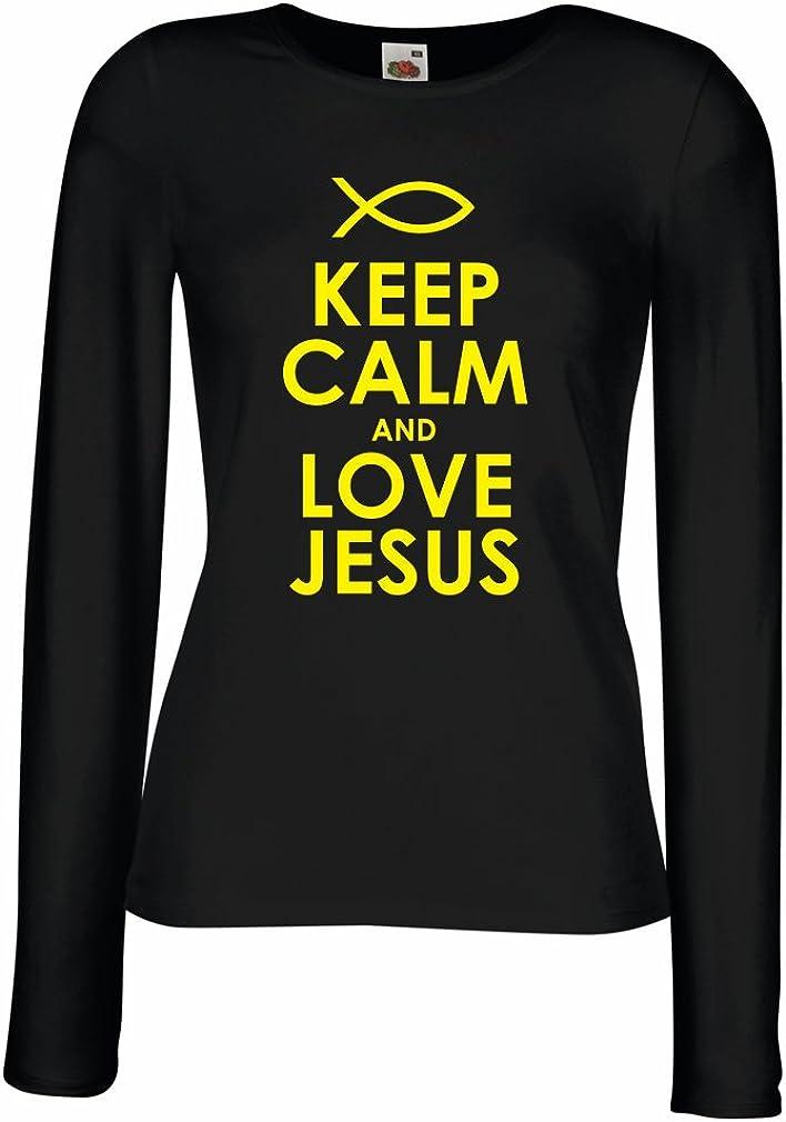 Camisetas de Manga Larga para Mujer Amo a Jesucristo, Religión Cristiana - Pascua, Resurrección, Natividad, Ideas de Regalo Religioso