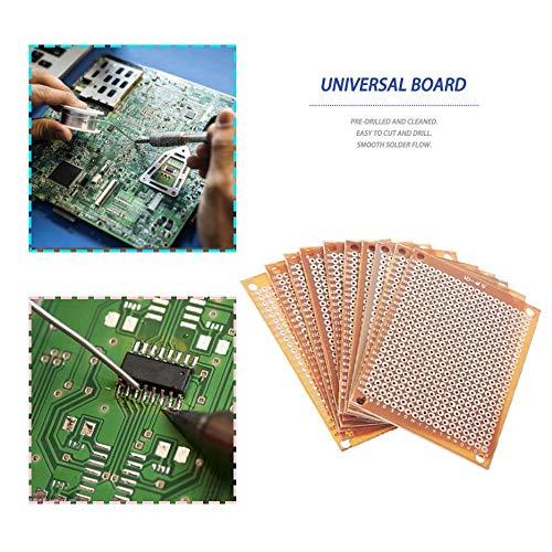 RoxTop 10pcs DIY prototipo en papel PCB universal Experimento 5x7cm placa de circuito matriz cobre