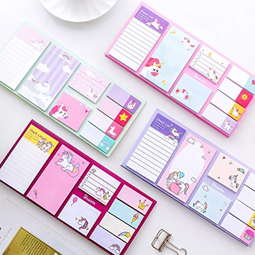 Cute Cartoon Unicorn Memo Pad Note Sticky Paper Stationery Rainbow Planner Stickers Notepads School Office (Pad Memo Stationery)