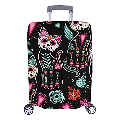 (InterestPrint Custom Floral Skull Cat Holiday Travel Business Luggage Cover Protector Suitcase Elastic 25