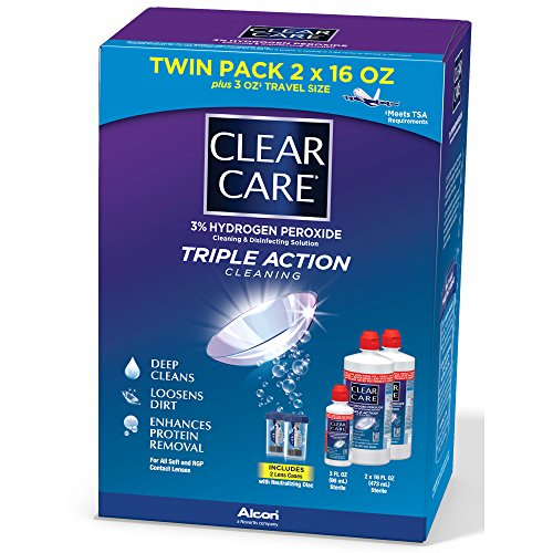 Clear Care Contact Lens Care Solution, 2 pk./16 fl. oz. with Bonus Travel Size, 3 fl. oz. and 2 Lens Cases (pack of 6) by Clear Care