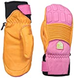 Hestra Women's Fall Line Short Leather Ski and Ride Mitten,Orange/Cerise,7