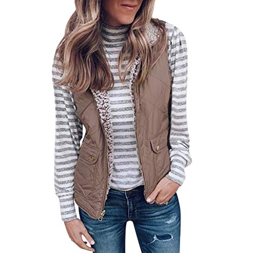 Womens Autumn Winter Sleeveless Plush Jacket,Ladies Outdoor Two Wear Pullover Open Front Blouse Coat Warm Long Outerwear (Khaki, XL)