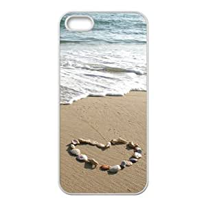 5S Protective Case - Seashell Heart Wave Hardshell Carrying Case Cover for 5 / 5S