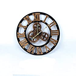 Enjoy House Wooden Gear Decorative Wall Clock Round Shaped (Small-15.75 inch, Gold)