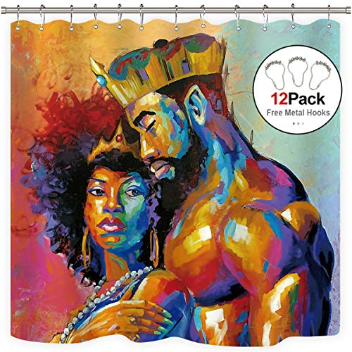 Riyidecor King African American Lovers Couple Shower Curtain Metal Hooks Queen Colorful Decor Fabric Bathroom Set Polyester Waterproof Bathroom 72x72 Inch (Couples Shower Curtain)