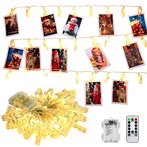 (BrizLabs Photo Clip String Lights, 17.15ft 50 LED Photo Hanging Fairy Lights, 8 Modes Dimmable Photo String Lights/Holder with Remote & Timer Indoor Outdoor for Photos Cards, Bedroom Decor, Warm White)