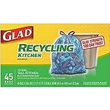 Kitchen Trash Cans 13 Gallon Glad Recycling Tall Kitchen Drawstring Trash Bags, Blue, 13 Gallon, 45 Count