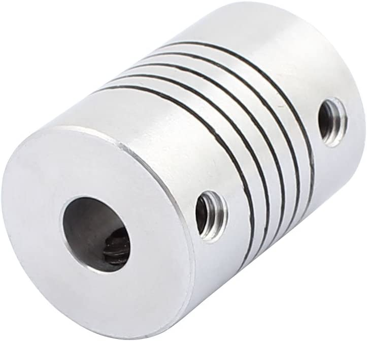 uxcell 5mm to 6.35mm Shaft Coupling 25mm Length 18mm Diameter Stepper Motor Coupler Aluminum Alloy Joint Connector for 3D Printer CNC Machine DIY Encoder