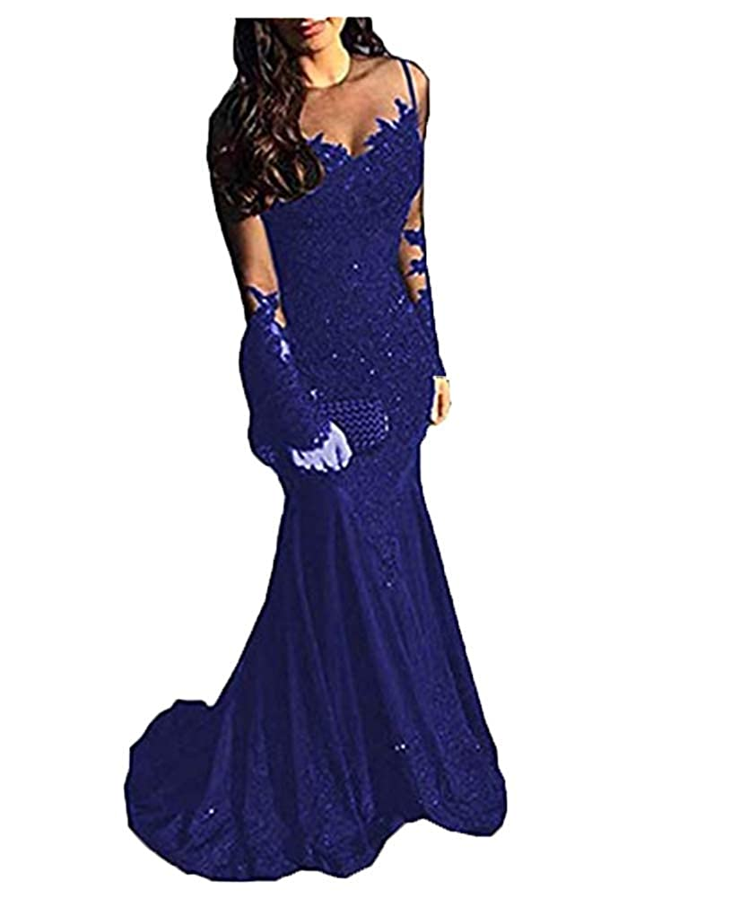 Royal bluee FWVR Women's Lace Formal Evening Gowns Long Sleeves 2019 Mermaid Prom Dresses Long