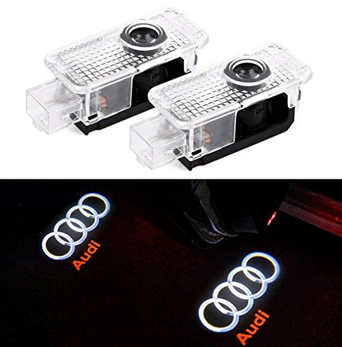 Car Projection LED Projector Ghost Door Shadow Light Welcome Light Emblem Logo for Audi Series A8 A6L A5 A6 A4L A4 A1 R8 Q7 TT (Red Emblem Crystal)