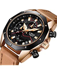 Watches Mens Fashion Waterproof Quartz Men Watch Luxury Brand LIGE Sports Chronograph Date Watch Dress Business Calendar Wristwatch Causal Leather