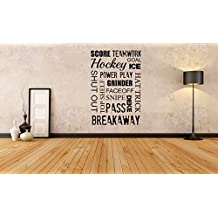 Removable Vinyl Sticker Mural Decal Wall Art Decor Poster Bedroom Indoor Goalie Mask Sport Sign Logo Playroom Room Hockey Player word quote Game Club Man Cave Fan SA379