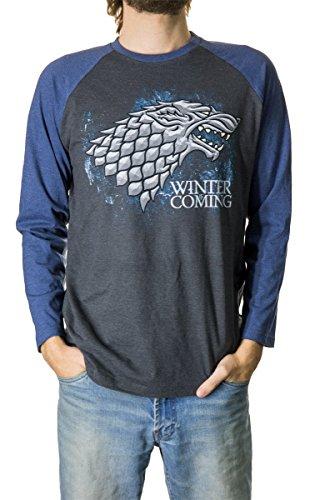 Calhoun Game of Thrones Men's House Sigil Raglan Shirt (XX-Large, Stark (Blue))