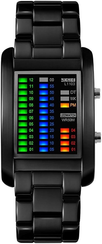 TONSHEN Moda Binario Relojes de Hombre Acero Inoxidable Rectangular Dial 4 Colores LED Luz Diseño Unico Casual Deportes Digitales Relojes de Pulsera Impermeable 50M Resistente Agua