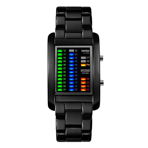 Amazon.com: Unisex Digital Watch 4 Colors LED Lights Binary Watch Waterproof 50M 164FT Water Resistant tainless Steel Watch for Men Women Calendar Date Week ...