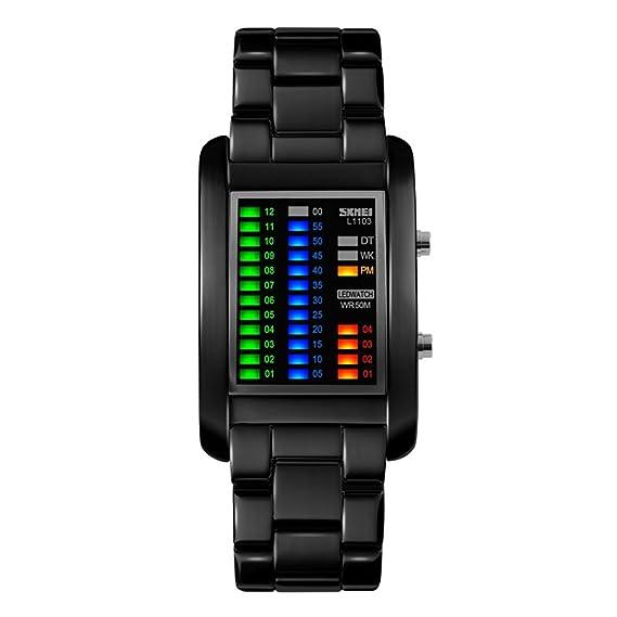 TONSHEN Moda Binario Relojes de Hombre Acero Inoxidable Rectangular Dial 4 Colores LED Luz Diseño Unico