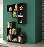 Manhattan Comfort Cascavel Stair Cubbies Collection 6 Storage Cube Shelves in Stair Shape Includes Brackets for Wall Placement, Set of 2, Tobacco