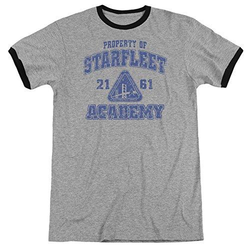 (Star Trek Old School Unisex Adult Ringer T Shirt for Men and Women, X-Large Heather/Black )